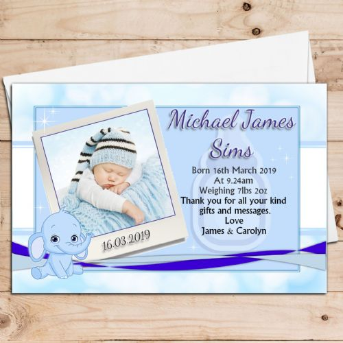 10 Personalised Baby Boy Birth Announcement Thank You PHOTO cards N40
